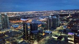 Birds eye view of Calgary at night.